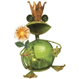 "8"" Solar Crackle Glass King Frog Garden Statue, Assorted Styles thumb"
