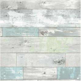 "20.5"" x 18' Blue and Green Beachwood Peel and Stick Wallpaper thumb"