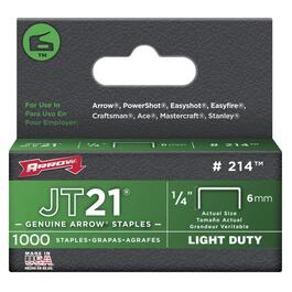 "1000 Pack 1/4"" 0.30 Ga. Staples, for JT21 Stapler thumb"