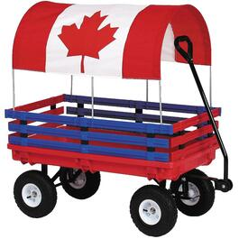 "20"" x 38"" Red/Blue Plastic Wagon, with Rails and Canadian Flag Canopy thumb"