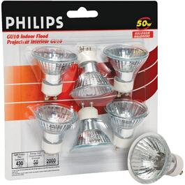 6 Pack 50W MR16 GU10 Base Halogen Light Bulbs thumb