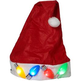 Red Light Up Plush Santa Hat thumb
