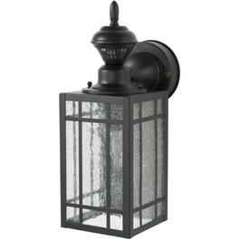 Mission Black Outdoor Coach Light Fixture, with 150 Degree Motion Sensor and Dusk to Dawn Option thumb