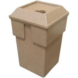 30 Gallon Sandstone Round Bullseye Garbage Can thumb