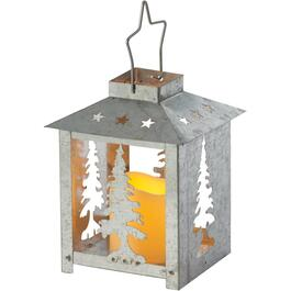 "7.7"" Battery Operated Galvanized Cutout Tabletop Lantern, with Candle and Assorted Scenes thumb"