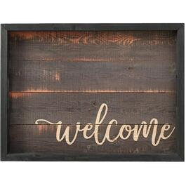 "19-3/4"" x 14-3/4"" Wooden Welcome Serving Tray thumb"