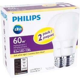 2 Pack 8.5W A19 Medium Base Soft White Non-Dimmable LED Light Bulbs thumb