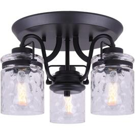 Arden 3 Light Graphite Semi-Flush Light Fixture, Watermark Glass thumb