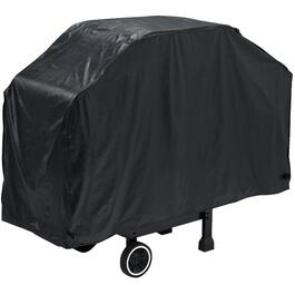 "60"" x 21"" x 40"" Black PEVA Barbecue Cover, with Polyester Backing thumb"