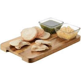 Acacia Wood Chip and Dip Tray, with 2 Glass Bowls thumb