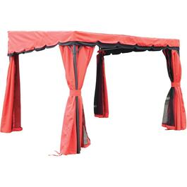 9.2' x 9.2' Red Balcony Gazebo, with Curtains thumb
