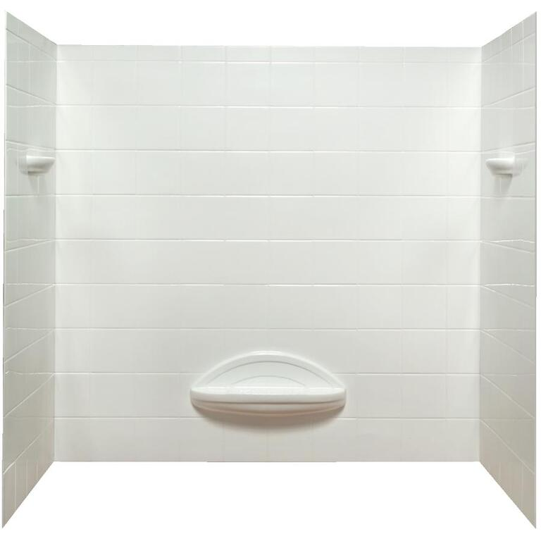 5 Piece White Polystyrene Tile Look Tub Wall - Home Hardware