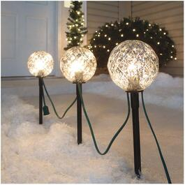 "3 Pack 11.5"" Silver Ball Pathway Markers, with Lights thumb"