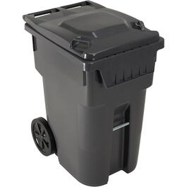 "360L Charcoal American Grip Curbside Garbage Can, with 12"" Wheels thumb"