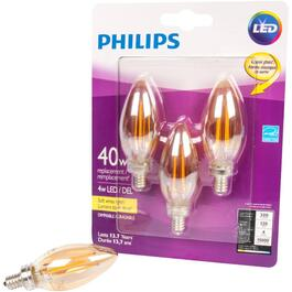 3 Pack 4W B11 Candelabra Base Soft White Vintage LED Light Bulbs thumb