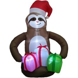 6' Holiday Sloth with Presents Outdoor Airblown Inflatable Figure thumb