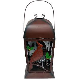 Antique Red Metal Lantern, with Cardinal thumb