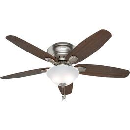 "Fremont 52"" 5 Blade Brushed Nickel Low Profile Ceiling Fan with LED Lighting thumb"