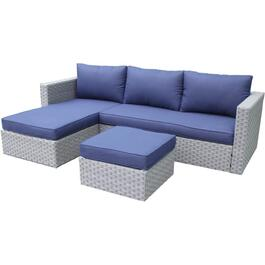 3 Piece Bluestone L-Shape Sectional Set, with Cushions thumb