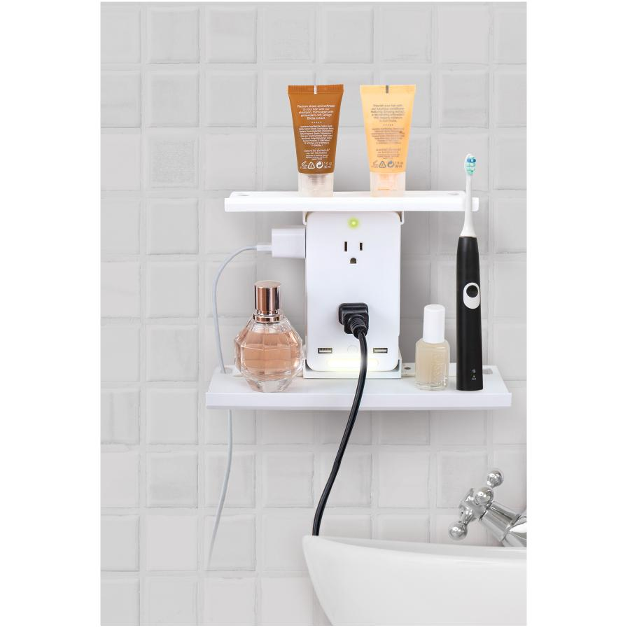 Lesgos Switch Socket Rack 8 Port Wall Outlet Shelf with 6 Electrical Outlet Extenders and 2 USB Charging Ports for Bathroom Home Kitchen Office Living Rooms
