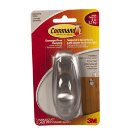 "3-3/4"" Command Brushed Nickel Plastic Timeless Large Hook thumb"