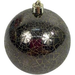 6 Pack 80mm Plastic Brown Crackle Ornament thumb