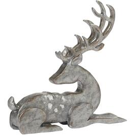 "9"" Galvanized Finish Polyresin Laying Deer Figure thumb"