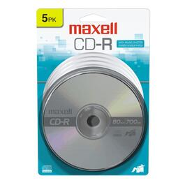 5 Pack 700MB/80 Minute CD-R Silver Disks thumb