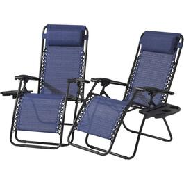 2 Pack Monte Carlo Sling Zero Gravity Chairs, with Trays thumb