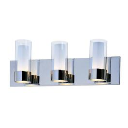 Martigny 3 Light Chrome Vanity Light Fixture with Frosted and Clear Glass Shades thumb