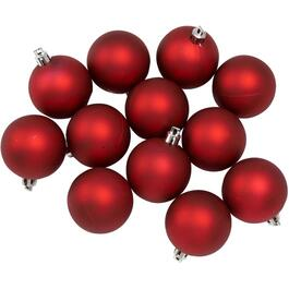 12 Pack 60mm Plastic Matte Red Ornaments thumb