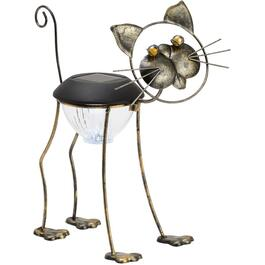 "13"" Solar Metal Cat Garden Statue thumb"