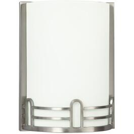 1 Brushed Nickel Aurora Wall Light with White Glass thumb