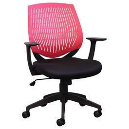 Black/Red Mesh Low Back Office Chair, with Upholstered Seat thumb