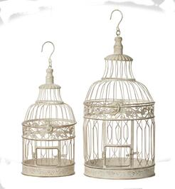 2 Pack White Decorative Bird Cages, Small and Large thumb