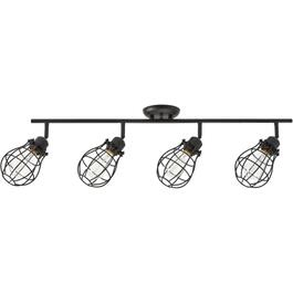 Lancy 4 Light Matte Black Caged Shade Track Light Fixture thumb
