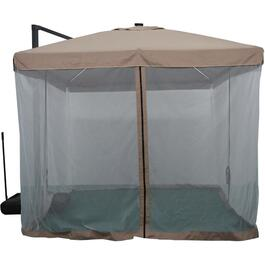 13' Taupe Offset Umbrella, with Net, Lights, and Base thumb
