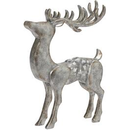 "10.8"" Galvanized Finish Polyresin Standing Deer Figure thumb"