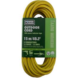 15M 1 Outlet SJTW 14/3 Yellow Extension Cord thumb