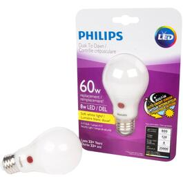8W A19 Medium Base Dusk to Dawn Light Bulb thumb