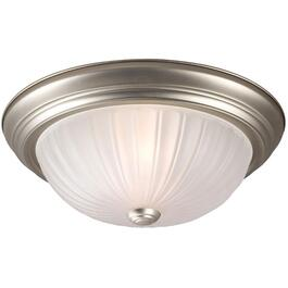 "13"" Pewter Frosted Melon Glass Flush Light Fixture thumb"