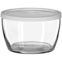 "4-3/8"" Clear Glass Serving Bowl, with Plastic Lid thumb"
