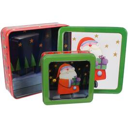 2 Piece Christmas Square Tins, with Window, Assorted Designs thumb