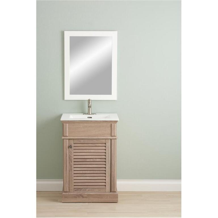 Foremost 24 X 18 Jayda 1 Door White Washed Oak Vanity With Top