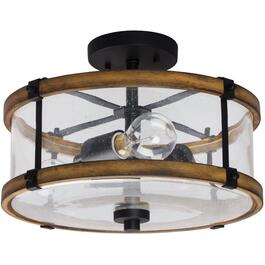 "Villa 14"" Black and Wood Finish Semi Flush Fixture with Clear Seedy Glass thumb"