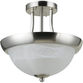 Bisbee Satin Nickel Semi-Flush Light Fixture with White Marble Glass Shade thumb