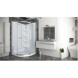 "38"" White Acrylic Round Shower Cabinet, with Silver/Clear Door thumb"