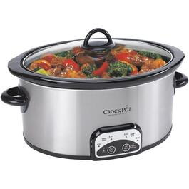 4.0 Quart Oval Stainless Steel Slow Cooker, with Digital Display thumb