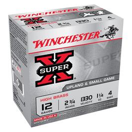 "25 Rounds 2-3/4"" 12 Gauge #4 Super-X Ammo thumb"