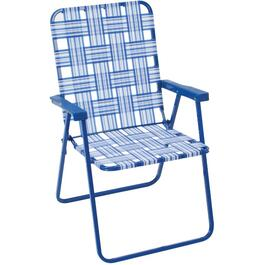 Blue and White Web High Back Folding Chair thumb